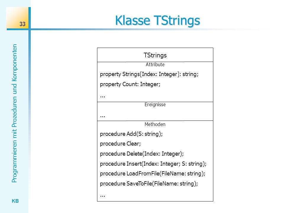 Klasse TStrings TStrings ... property Strings[Index: Integer]: string;